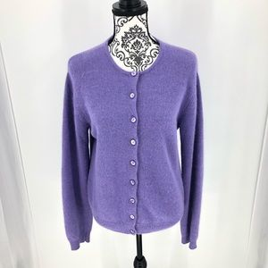 Moda Intl Lilac Purple Lambswool Cardigan SZ LRG